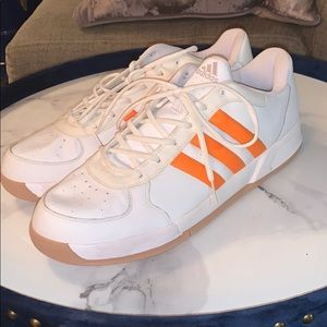 White/orange low top Adidas sneakers : big & tall